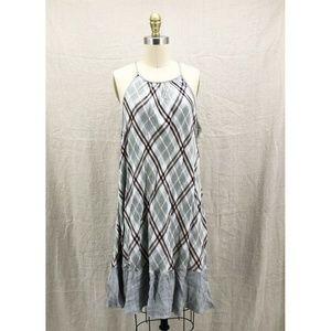 CLOTH & STONE Palm Canyon Gray Plaid Halter Dress
